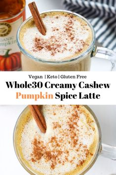 This Creamy Cashew Pumpkin Spice Latte is a dairy free and Whole30 friendly version of your favorite fall beverage. Sugar free and made creamy from blended cashews, you will definitely want to make this again and again! #fallrecipes #pumpkinspicelatte #psl #basic #whole30recipes #whole30coffee #coffee #dairyfreepumpkinspicelatte #veganpumpkinspicelatte Coffee Recipes, Pumpkin Recipes, Fall Recipes, Holiday Recipes, Tea Recipes, Drink Recipes, Whole 30 Recipes, Whole Food Recipes, Healthy Recipes