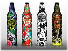 Mountain Dew, one of the best-selling carbonated soft drink in the United States has launched Green Label Art, a limited-edition series of carbonated drinking bottles featuring designs created by a variety of talented great artists.