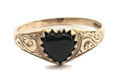 Vintage Birmingham Ladies Black Onyx Heart Signet Ring in 9 ct Yellow Gold Scrolled Band FREE POSTAGE Included by GloryBeVintageWares on Etsy