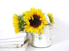 French Vintage Coffee Pot Ivory with Sunflowers enamel metal