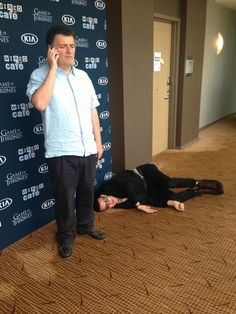 """Yep we're gonna need a new one"". Matt and Moffat at SDCC. #DoctorWho"