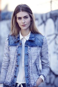 Stop-and-Stare Worthy New Arrivals: This season's must-have: The classic denim jacket—all roughed up with textured tweed.