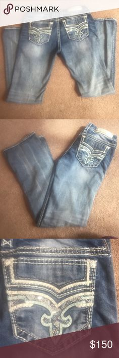 Rock revival size 31 new WITH OUT tags I got this pair wore them once and I don't like how they fit me. I have washed them once and they have been in my closet since. They are practically brand new I just cannot return them because I washed them. They have a light wash with a blue sparky pocket. They are gysii style. Rock Revival Jeans Boot Cut