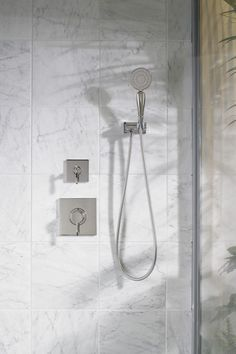 A nod to both the old and new, this shower set features 19th century curves and a modern, sleek profile Shower Faucet, Bathroom Inspiration, Modern Bathroom, Master Bath, Tile, Marble, Texture, Design, Rain Shower Heads