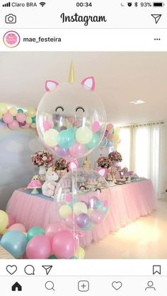 Beautiful soft pink and blue colors for party decorations. Unicorn balloons perfect for baby shower or girls birthday party. Job well done! Source by riannemcd Unicorn Themed Birthday, Girl Birthday, Birthday Ideas, Balloon Birthday, 10th Birthday, Birthday Cake, Balloon Decorations Party, Birthday Party Decorations, Pink Decorations