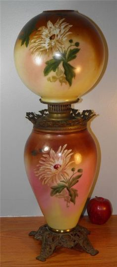 Antique Victorian Gone with the Wind Oil Lamp with Chrysanthemums