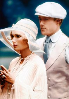 1974: one of the many film adaptations of the novel.    (Theoni V. Aldredge won an Oscar for her costuming of The Great Gatsby, and Ralph Lauren won acclaim for the suits he fashioned for the male leads, most notably the pink suit Jay Gatsby (Robert Redford) wears on the novel's fateful day.)