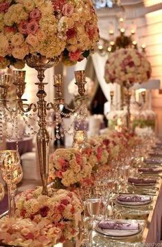 Pink and gold wedding colors #largecenterpieces