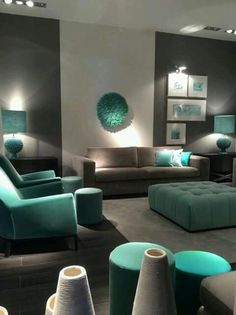 36 Most Popular Living Room Colors Ideas - Inspiration to Beautify Your Living Room Living Room Color Scheme Ideas Can Help You to Create A Room Design, Interior, Popular Living Room Colors, Teal Living Rooms, Room Color Combination, Trendy Living Rooms, Living Room Grey, Living Decor, Living Room Color Combination
