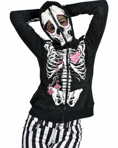 Skeleton Lace Up Rose Over the Face Hoodie