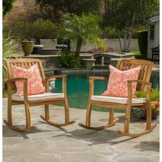 Set of 2 Outdoor Wood Rocking Chair Natural Finish with Cream Cushions Patio Porch Furniture Teak Rocking Chair, Outdoor Rocking Chairs, Patio Seating, Patio Chairs, Bar Chairs, Patio Dining, Outdoor Dining, Outdoor Spaces, Dining Chairs