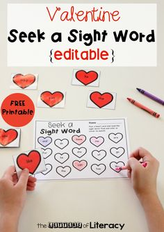 Grab this Editable Valentine's Day sight word game and use it in your classroom for Preschool Sight Words, Sight Word Games, Valentine Words, Valentine Theme, Valentine Nails, Valentine Ideas, Kindergarten Activities, Kindergarten Reading, Preschool Classroom