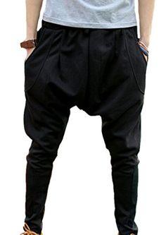 XTX Men s Hip hop Harem Sweatpants Big Pocket Jogger Pencil Trousers M Black 5968d0bf995