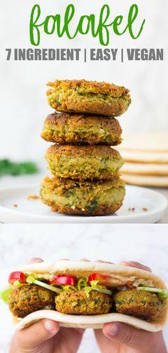 Easy Vegan Falafel using canned chickpeas. Baked or Pan Fried options! Easy Vegan Falafel using canned chickpeas. Baked or Pan Fried options! Healthy Vegan Dessert, Vegan Lunch Recipes, Vegan Lunches, Vegan Foods, Healthy Recipes, Easy Vegan Snack, Easy Vegan Dishes, Lunch Ideas Vegan, Easy Vegan Meals
