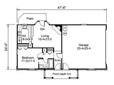Plan 2225SL: One Story Garage Apartment | Garage apartments, House ...