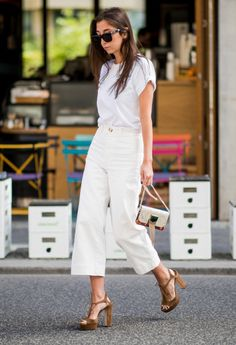 STYLECASTER | How to Wear a Plain White T-Shirt | With White Flared Jeans