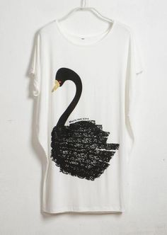 Swan Printed White Round Neck Bat Short Sleeve Loose T Shirt