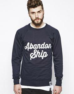 Abandon Ship Navy Sweatshirt with Logo