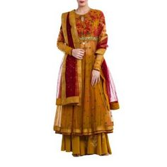 Mustard Net Suit by ANJU MODI. Original price is Rs.48,800 and our 50% DISCOUNTED price is Rs.24,400 + 12.5% Tax.