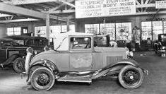 """In the Garage: Damaged Model """"A"""" Ford Sport Coupe Vintage Cars, Antique Cars, Repair Shop, Car Repair, Ford Sport, The Body Shop, Old Cars, Classic Cars, Automobile"""
