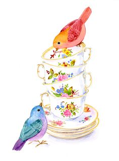 Two birds with teacups - watercolor by Alison Kolesar Tea Cup Art, Tea Cups, Watercolor Projects, Watercolor Paintings, Tee Kunst, Decoupage Vintage, Illustration, Flower Tea, Art Drawings