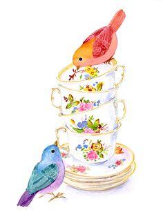 Two birds with teacups - watercolor by Alison Kolesar Tea Cup Art, Tea Cups, Decoupage Vintage, Vintage Art, Watercolor Projects, Watercolor Paintings, Flower Tea, Illustration, Decoration