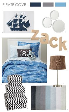 Pirate Cove: For an older child, try mixing in grey, navy or black and patterns like wood grain, stripes and zig zag.