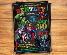 Invitación de super héroe / superhéroe Vengador cumpleaños