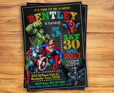 Superhero Invitation / Superhero Avenger Birthday Invitation / - Visit to grab an amazing super hero shirt now on sale! Superhero Birthday Invitations, Free Printable Birthday Invitations, Superhero Birthday Party, 6th Birthday Parties, Invitation Birthday, Birthday Cakes, Birthday Ideas, Hero Squad, Avengers Birthday