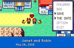 Pokemon Save the Date Wedding Cards Janet and Robin are getting married, and these are the cards theyre sending out to their friends and family. Quite literally Nintendo Love. I only wonder if the wedding will be Pokemon themed as well.  Follow for Nintendo news, reviews, art and gifs!