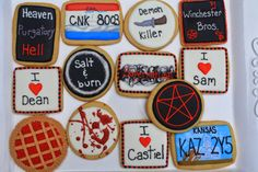Cookies themed by the hit t.v. series Supernatural. Photo Credit http://cupcake-adventures.blogspot.com/2013/10/supernatural-cookies.html