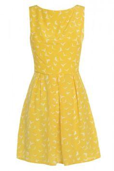 Yellow Bird Printed Skater Dress