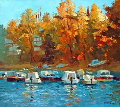 Boats on the waterfront OIL PALETTE KNIFE on canvas by spirosart