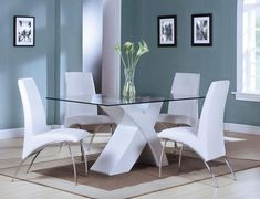 Acme Furniture Pervis Collection 5 PC Dining Room Set with Dining Table + 4 Side Chairs in White and Chrome Finish