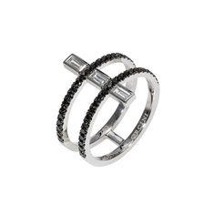 """Linee Misteriose"" Black Diamond Multi Band Ring"