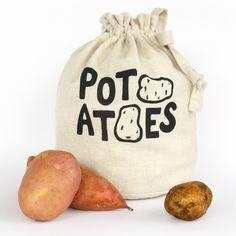 POTATOES Handmade reusable fresh produce eco storage bag from Harvest Haversack Potato Storage, Potato Bag, Kitchen Waste, Kitchen Storage Solutions, Be Natural, Food Containers, Bag Storage, Food Storage, Produce Storage