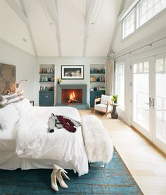 cathedral ceiling + fireplace in master bedroom design