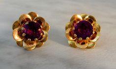Purple Flower Screw back Earrings   Gold Finished Metal by GemstoneCowboy on Etsy