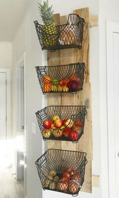 # diy # kitchen # storage # space # organization About How to Build a DIY Wall Mounted Fruit & Veggies Holder! Pin You can easily use my Home Decor Kitchen, Home Kitchens, Kitchen Interior, Cool Home Decor, Rental Kitchen, Kitchen Paint, Mur Diy, Diy Wand, Baskets On Wall