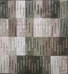 Patchwork Quilt gray Japanese Whisper wall by kallistiquilts.