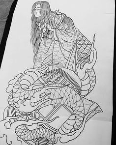 Jason BirksさんはInstagramを利用しています:「Kiyohime drawing for a 3/4 sleeve . Looking forward to starting this one 😎 #jasonbirks #akira #akiratattoo #essen #essentattoo…」 Irezumi, Geisha, Akira, Art Reference, Japanese, My Love, Instagram, Drawings, Illustration