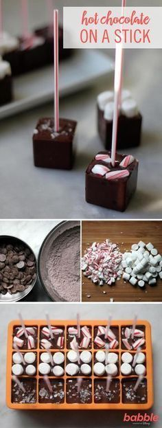 There is much to love about this easy DIY holiday gift. These lovelies will solve all of your holiday gifting and hostessing needs. Use cocoa powder, chocolate, salt, and confectioners' sugar, then ad Chocolate Sticks, Chocolate Spoons, Hot Chocolate Bars, Diy Food Gifts, Diy Holiday Gifts, Holiday Treats, Holiday Drinks, Christmas Sweets, Christmas Baking