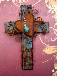 Rusty Heart Wall Cross with Turquoise Nugget 6 by TotallyCrosses, $35.00