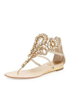 Rene Caovilla Chandelier Swarovski Crystal Thong Sandal, Sand/Smoke