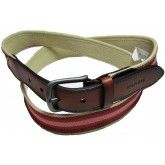Tommy Hilfiger Men's Casual Canvas Stretch Belt Red White | http://www.cbuystore.com/page/viewProduct/10010021 |Pakistan