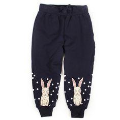 mini rodini | mini rodini bunny sweatpants (dark blue) at Tada! Shop
