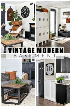A small ranch-style basement decorated in a mix of vintage, industrial and modern styles. #basementdecor #vintagemodern #vintagedecor #vintage Vintage Modern, Vintage Industrial, Vintage Decor, Budget Decorating, Decorating Your Home, Blogger Home, Diy Ideas, Decor Ideas, Modern Basement