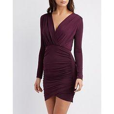 Ruched Surplice Bodycon Dress #bodycondresslongsleeve