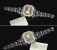 IMPRESSIVE PAIR OF DIAMOND BRACELETS, PROBABLY BY CASPAR RIELÄNDER,  MID 19TH CENTURY.    One set with a miniature portrait of Queen Thérèse of Bavaria, the other with a miniature portrait of King Ludwig of Bavaria in uniform, originally painted by Joseph Stieler, circa 1851, King Ludwig I wearing uniform, embellished with circular-, single- and rose-cut diamonds, the larger ones in cut-down collets, length approximately 170mm, both with fitted cases.