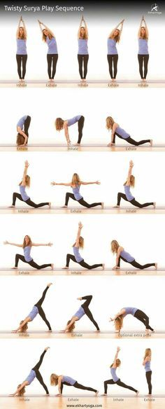 This twisty Surya Play sequence will stretch your side body, 'wring out' your spine, elongate your quadriceps and open your hips :) Give it a try! And get creative yourself by sharing your favourite Surya Namaskar variation with us! #Suryaplays We might pick your Surya Play variation and broadcast it to a large audience on The International Day of Yoga on June 21st. Find out more: www.ekhartyoga.co...